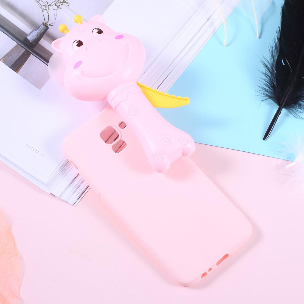 Чехол накладка 3D для Samsung Galaxy J4 2018 J400F силиконовый, Hippo Fan, розовый