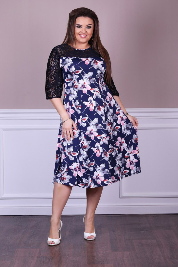 """Красивое женское платье с кружевными вставками ткань """"Масло+трикотаж"""" 50 размеры батал"""