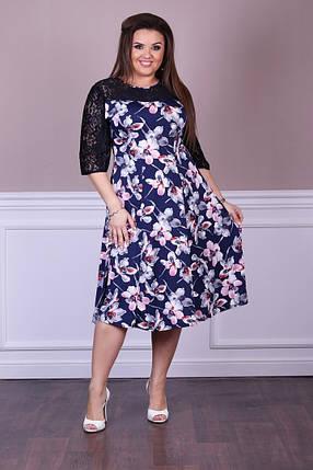 """Красивое женское платье с кружевными вставками ткань """"Масло+трикотаж"""" 50 размеры батал, фото 2"""