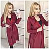 Кожаное женское легкое пальто на запах 410290
