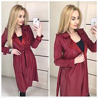Кожаное женское легкое пальто на запах 410290, фото 1