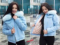 Кашемировая женская короткая куртка с меховым воротником 7101103, фото 1