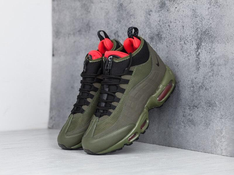 Кроссовки Nike Air Max 95 Sneakerboot Olive Red Cargo Khaki
