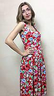 Красное платье без рукавов из штапеля П240, фото 1