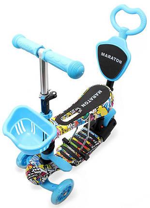 Трехколесный Самокат/Беговел Maraton - С ручкой - Sticker-Bomb, фото 2