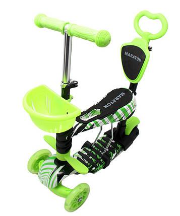 Трехколесный Самокат/Беговел Maraton - С ручкой - Green Neon, фото 2