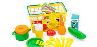 Игрушечная корзина с продуктами и посудой , 38 предметов