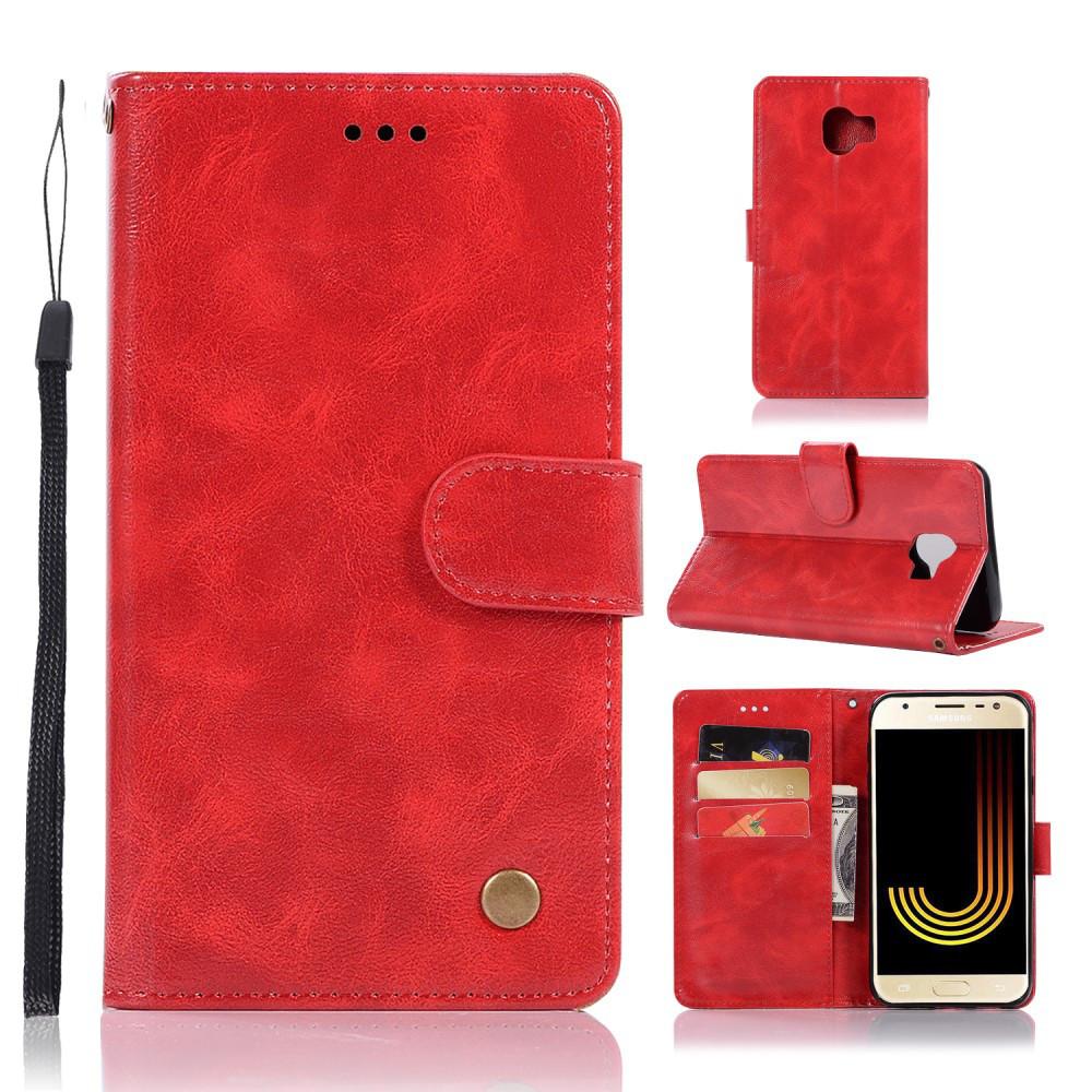 Чохол книжка для Samsung Galaxy J4 2018 J400F бічній з відсіком для візиток, Premium Vintage, червоний