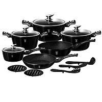 Набор посуды Berlinger Haus 15 предметов Metallic Line SHINY BLACK Edition 1664N