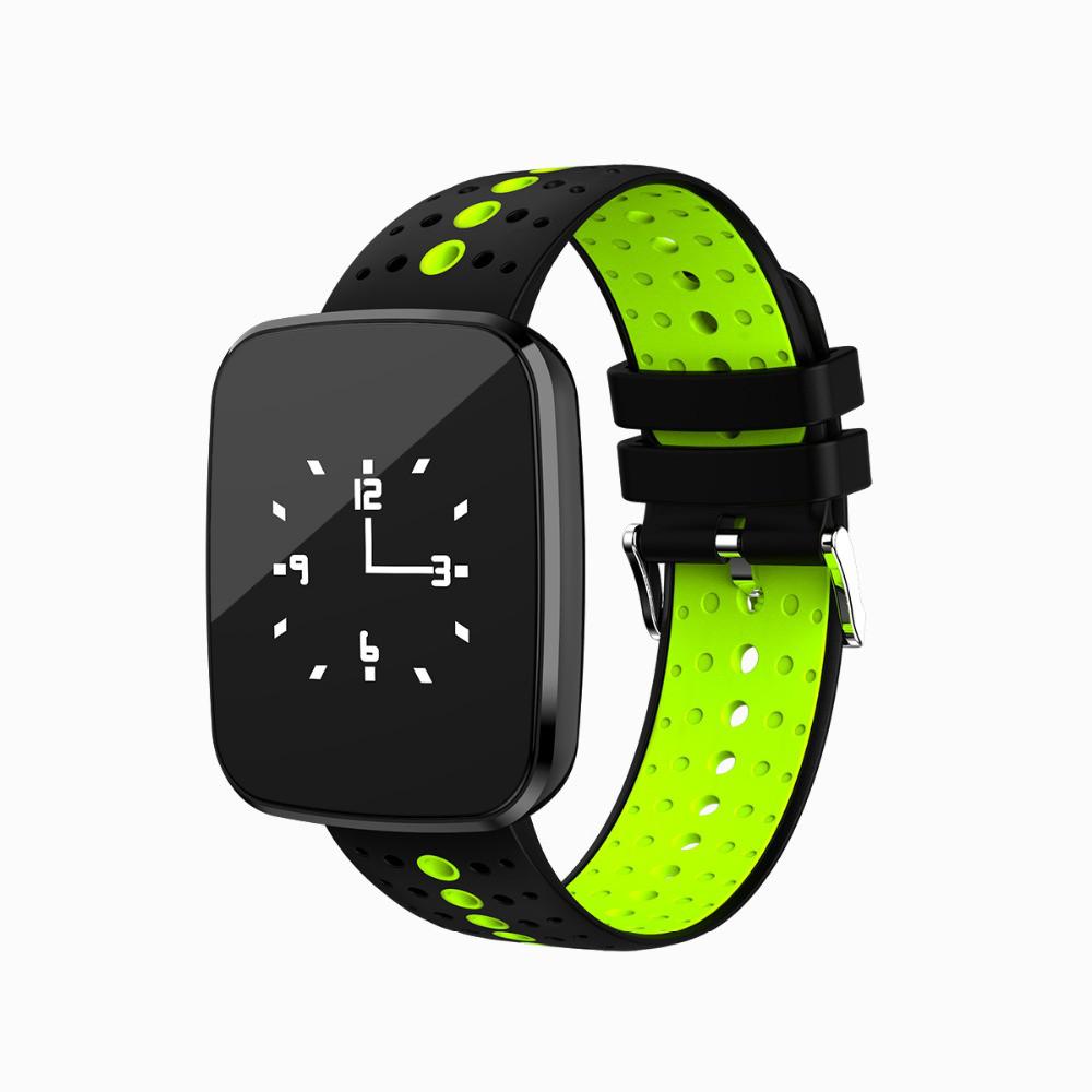 "Умные часы SUNROZ V6 смарт-часы 0,96"""" 110mAh Черно-Зеленый (SUN1653)"
