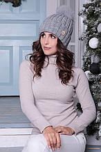 Женская шапка «Барбара» с Большим цветным песцовым помпоном