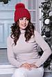 Женская шапка «Барбара» с Большим цветным песцовым помпоном, фото 2
