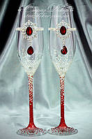 Свадебные бокалы с брошь-декором Рубин и стразами Сваровски (Тюльпаны)