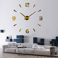 3-D большие настенные часы капельки черточки золото от 60 см до 90 см