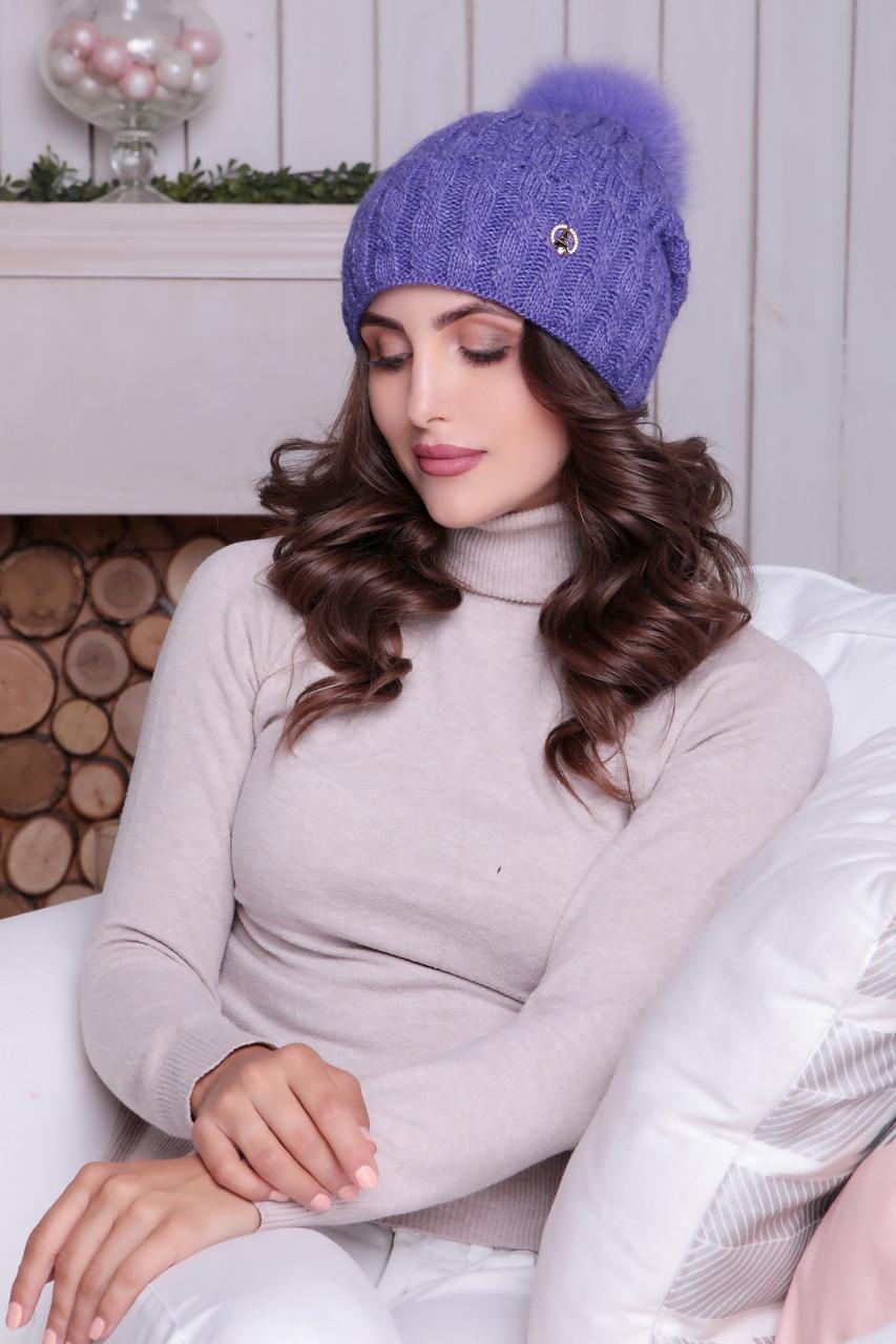 Женская шапка «Аврора» с цветным песцовым помпоном
