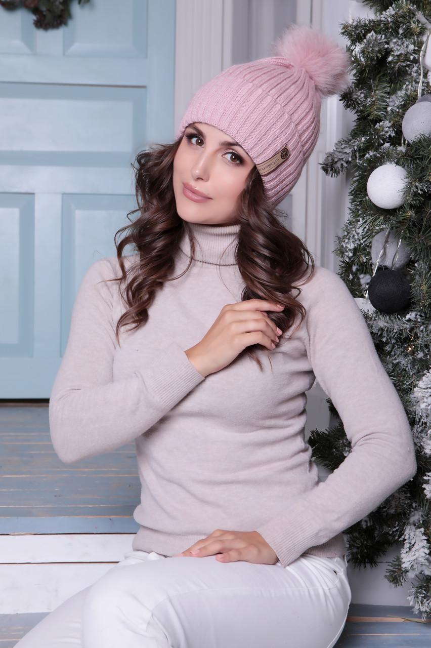 Женская шапка «Зара» с Цветным песцовым помпоном