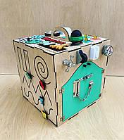 35*35*35 см Бизикубик.  Развивающий кубик Монтессори. Розвиваючий кубик. Бізіборд кубик.
