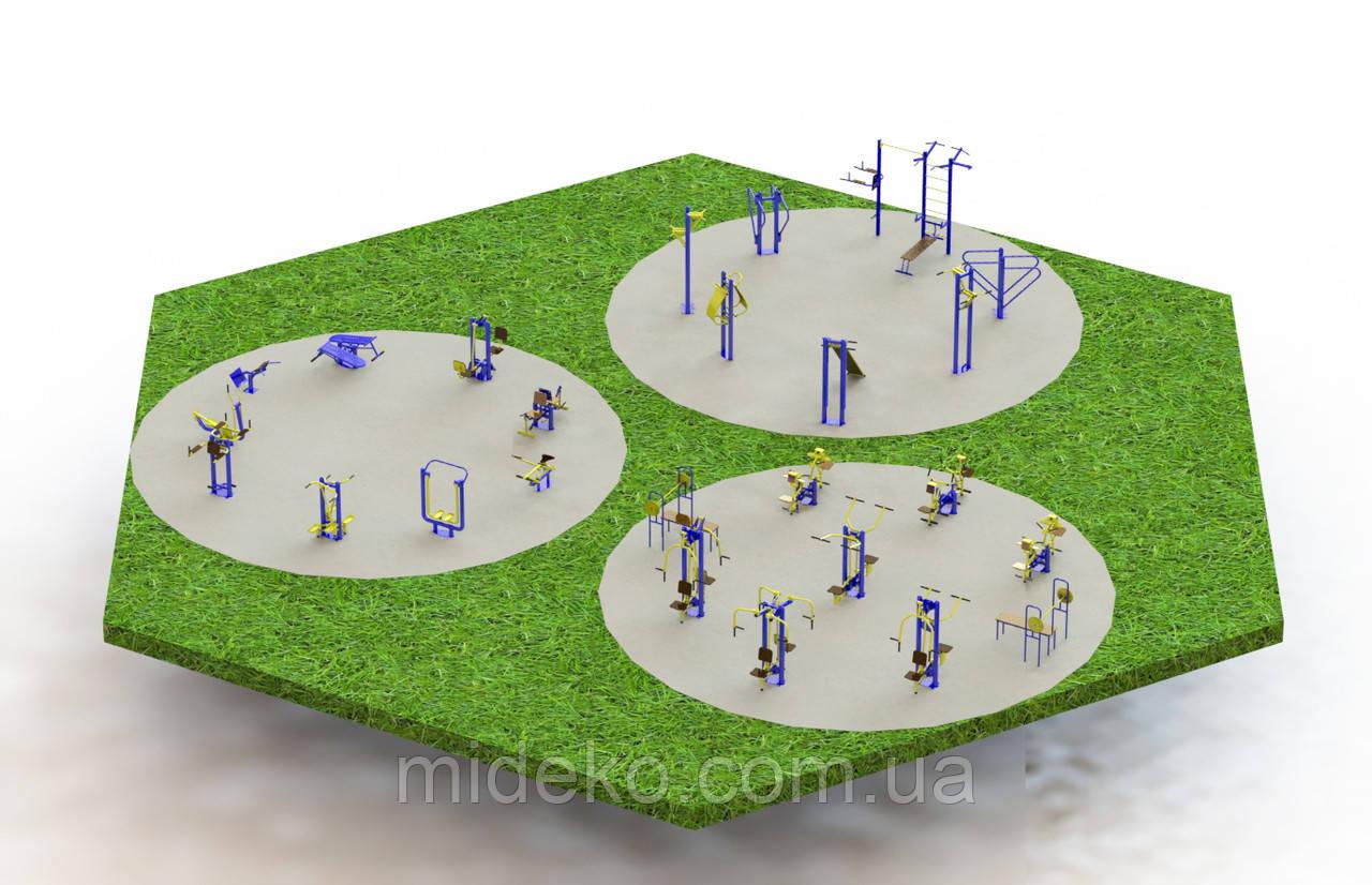 Спортивная площадка с уличными тренажерами 1490
