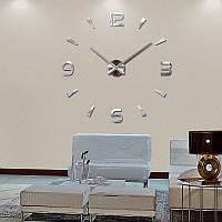 3-D большие настенные часы капельки черточки серебро, зеркальные от 60 см до 90 см