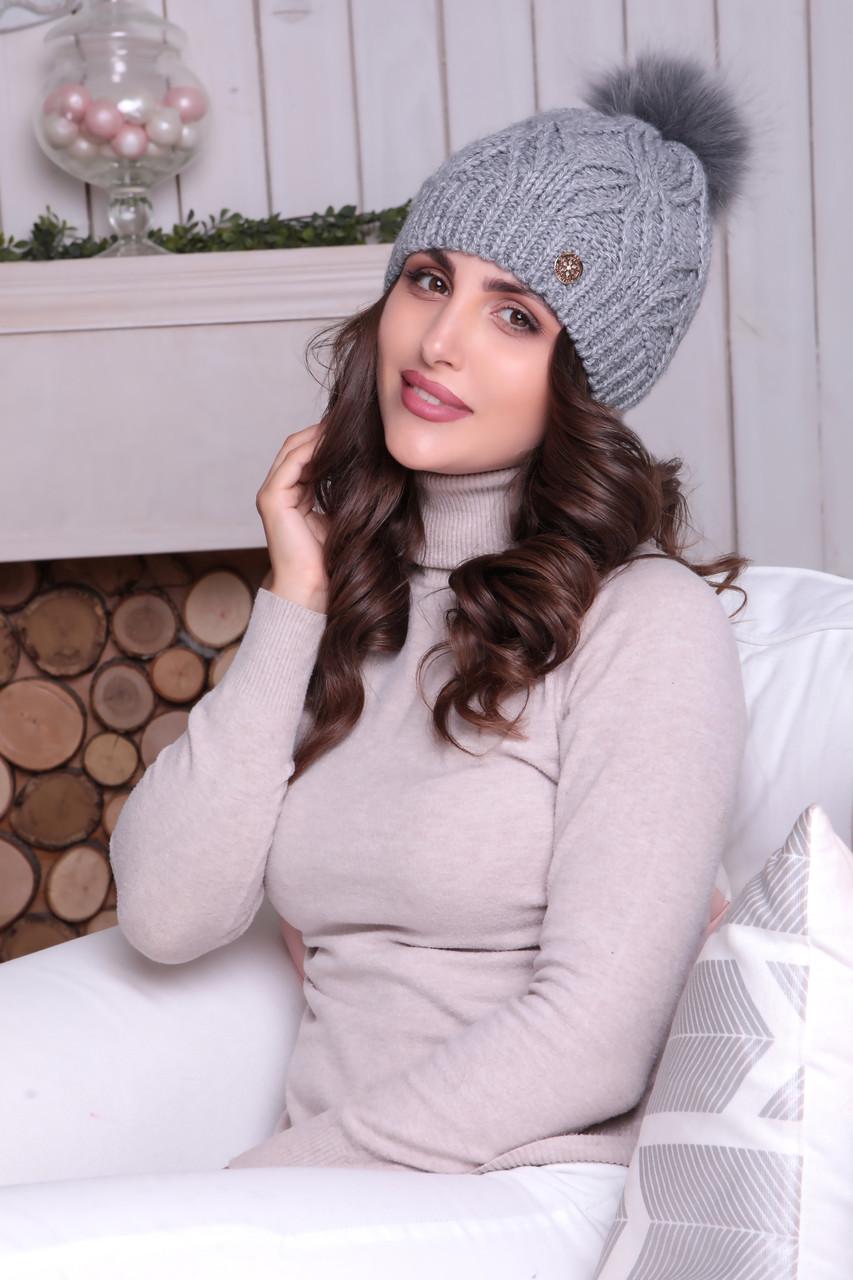 Женская шапка «Милана» с Большим цветным песцовым помпоном