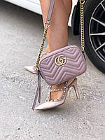 Женская кожаная сумочка  'GG Marmont' от Gucci пудра (реплика), фото 1