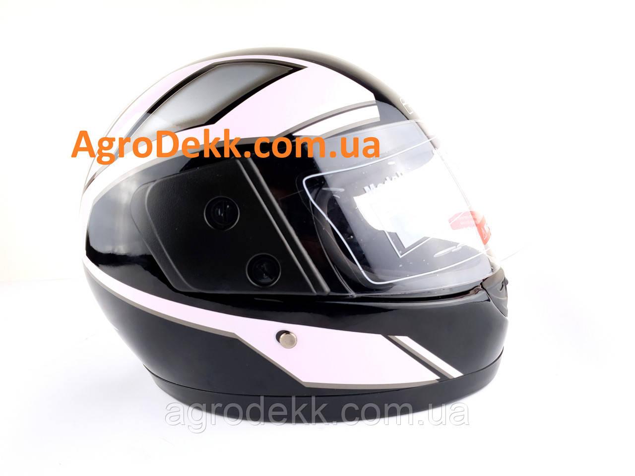 Шлем для мотоцикла F2 черный глянец с розовой полосой