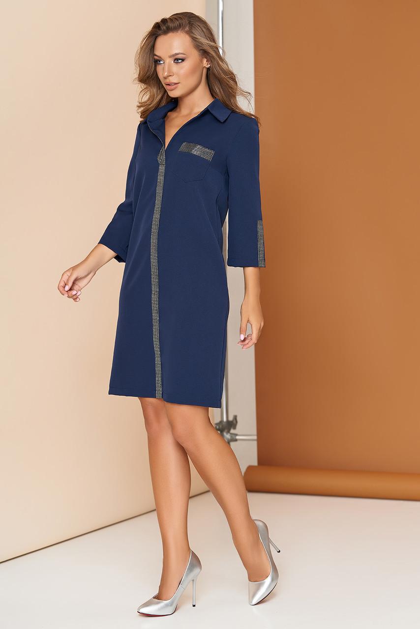 Модное платье рубашка короткое прямое с карманами рукав три четверти темное синее