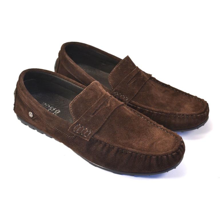Обувь больших размеров мужские мокасины коричневые замшевые ETHEREAL BS Classic Brown Vel by Rosso Avangard