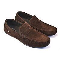 Обувь больших размеров мужские мокасины коричневые замшевые ETHEREAL BS Classic Brown Vel by Rosso Avangard, фото 1