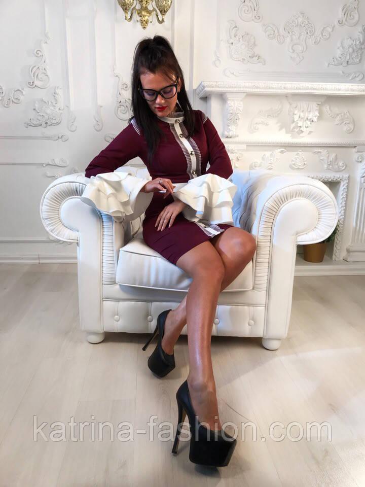 """Женское платье """"Гучи"""" со съемными рукавами-воланами (4 цвета)"""