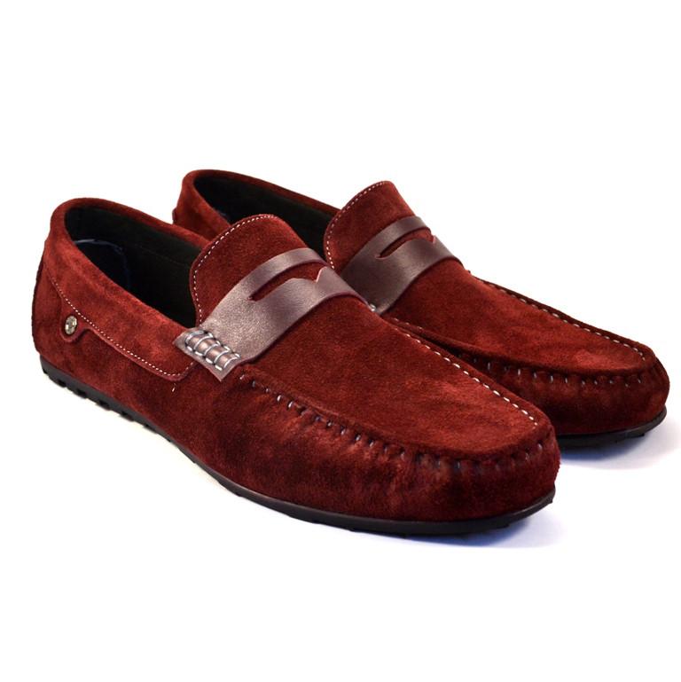 Мокасины бордовые замшевые мужская обувь больших размеров ETHEREAL BS Classic Bordeaux Vel by Rosso Avangard