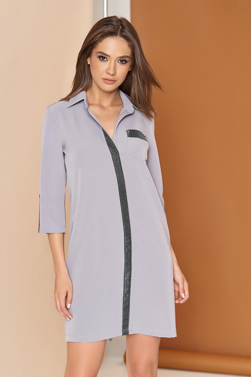 Стильное платье рубашка короткое прямое с карманами воротник рукав три четверти серое