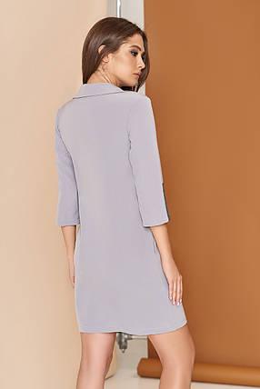 Стильное платье рубашка короткое прямое с карманами воротник рукав три четверти серое, фото 2
