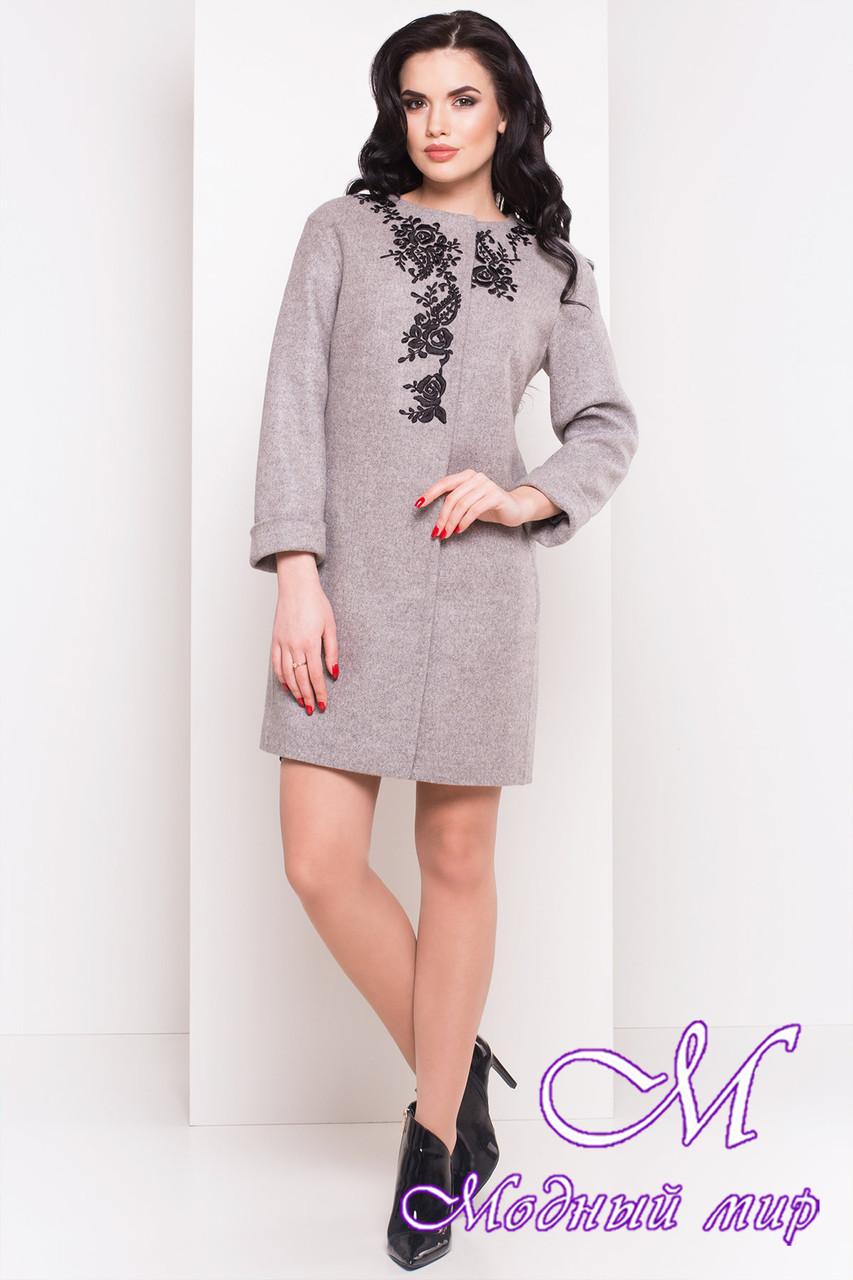 Женское демисезонное пальто с вышивкой (р. S, M, L) арт. Авелони 4555 - 21761