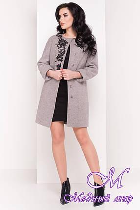 Женское демисезонное пальто с вышивкой (р. S, M, L) арт. Авелони 4555 - 21761, фото 2