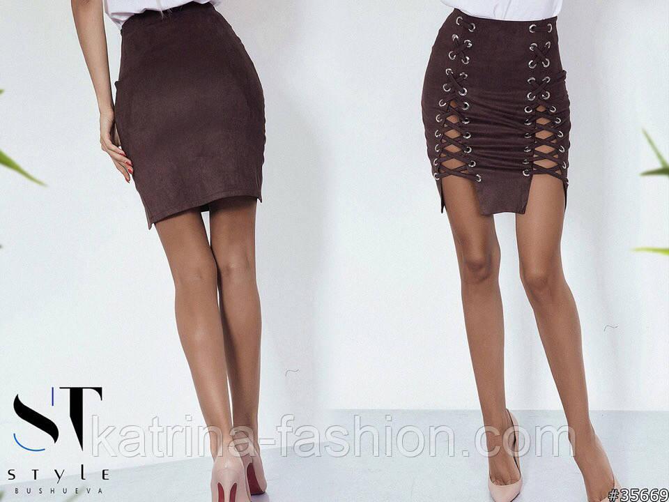 Женская замшевая юбка со шнуровкой (8 цветов)