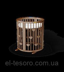 Кругла кроватка-трансформер BAGGYBED с сердечками 9-В-1 -с укачиванием