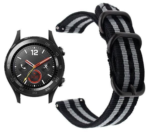 Нейлоновый ремешок Primo Traveller для часов Huawei Watch 2 - Black&Grey