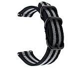Нейлоновый ремешок Primo Traveller для часов Huawei Watch 2 - Black&Grey, фото 2