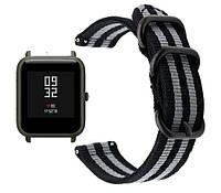 Нейлоновый ремешок  Primo Traveller для часов Xiaomi Huami Amazfit Bip - Black&Grey