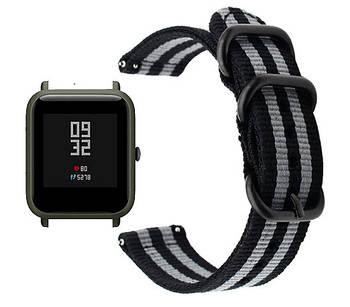 Нейлоновый ремешок  Primo Traveller для часов Xiaomi Amazfit Bip/Bip Lite/Amazfit Bip GTS - Black&Grey
