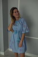 Платье вышиванка крестиком голубой лён
