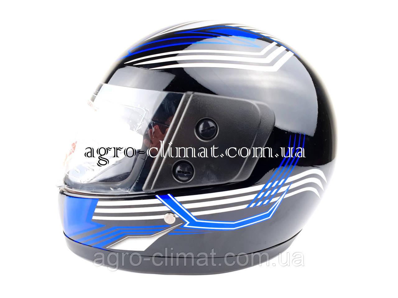 Шлем для мотоцикла F2 черный глянец с синей полосой