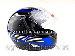 Шлем для мотоцикла F2 черный глянец с синей полосой , фото 2