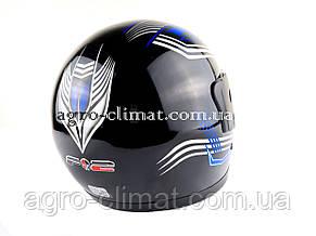 Шлем для мотоцикла F2 черный глянец с синей полосой , фото 3
