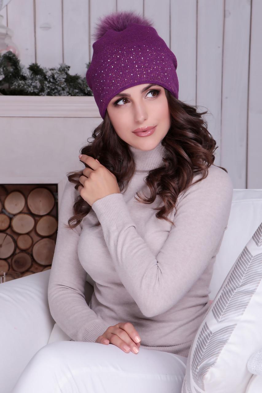 Женская шапка «Дива» с цветным песцовым помпоном с люриксом