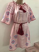 Платье вышиванка крестиком розовый  лён