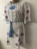 Платье вышиванка крестиком белый  лён