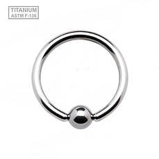 Кольцо с шариком титан серебристый