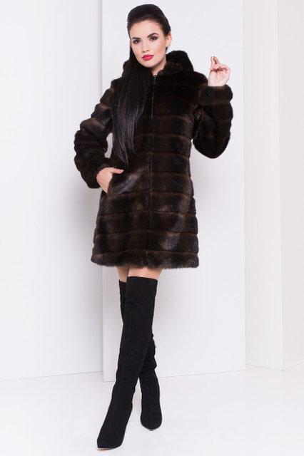 Женская шуба полоска из искусственного меха с капюшоном (цвет махагон) 39203